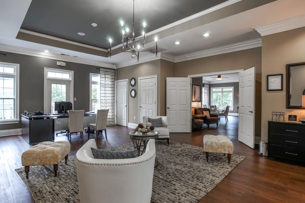 Clubhouse with amenities poolside at Peachtree Landing in Fairburn, Georgia
