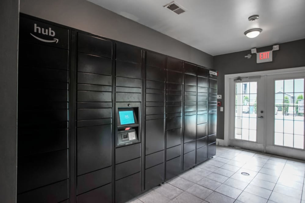 Storage lockers for residents at Peachtree Landing in Fairburn, Georgia