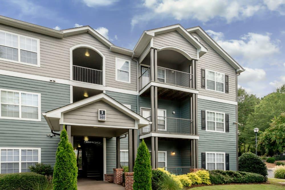 View of resident balconies at Peachtree Landing in Fairburn, Georgia