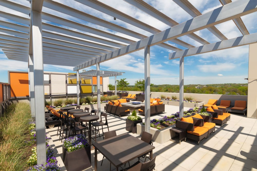 Rooftop bar and pool table at Palette at Arts District in Hyattsville, Maryland