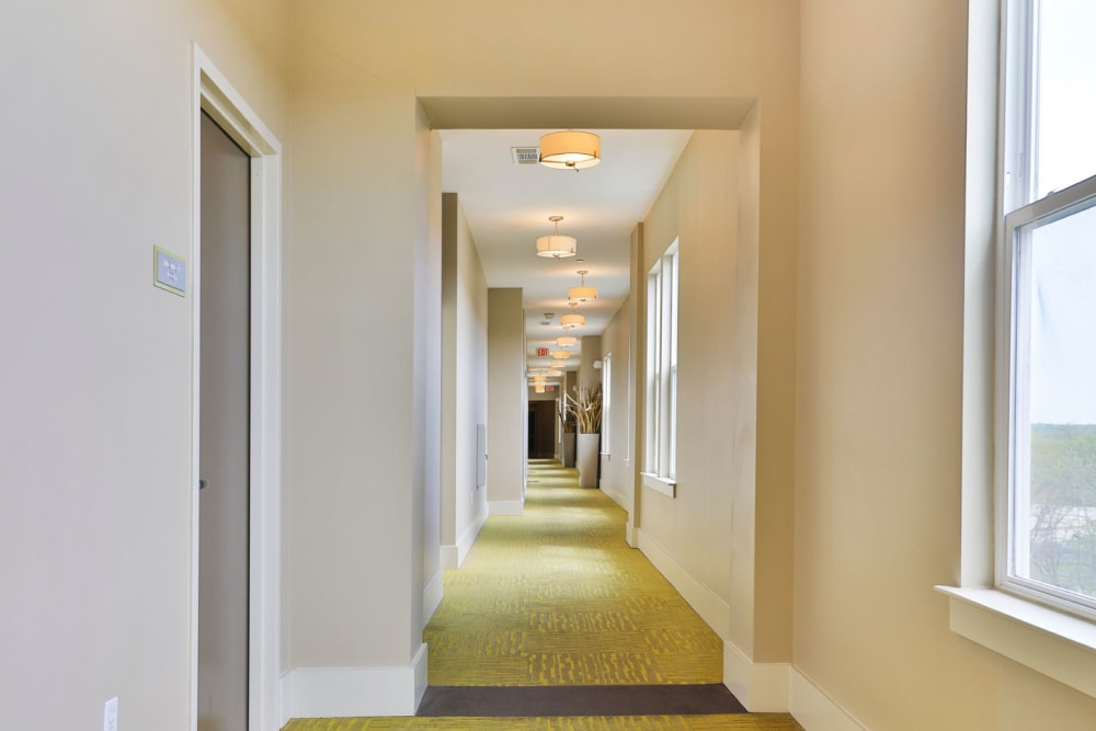 Resident hallway to units at Palette at Arts District in Hyattsville, Maryland