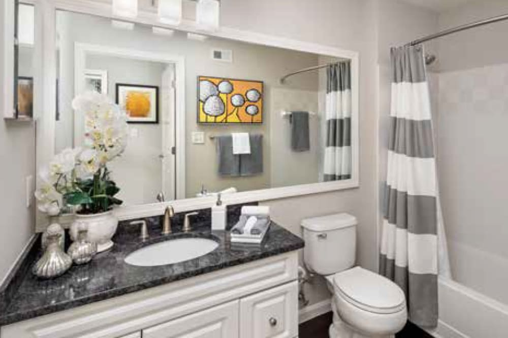 Bathroom in an apartment at Ellington Metro West in Westborough, Massachusetts features a large vanity mirror and shower bathtub