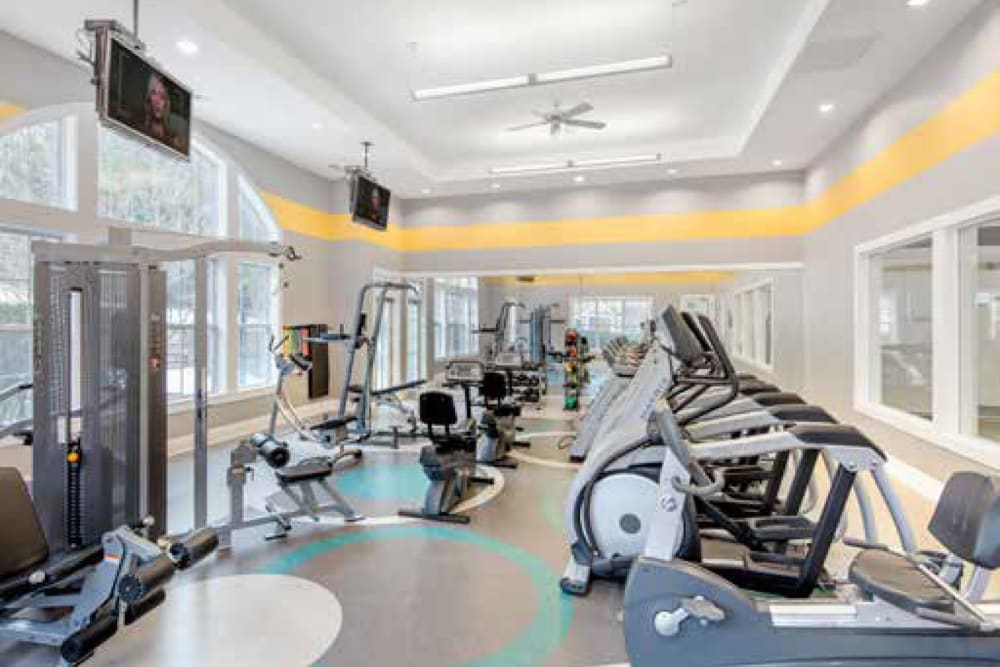 Workout equipment in fitness center at Ellington Metro West in Westborough, Massachusetts