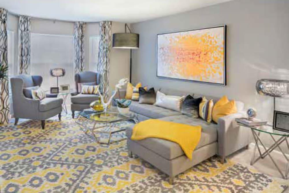 Spacious living room at Ellington Metro West in Westborough, Massachusetts