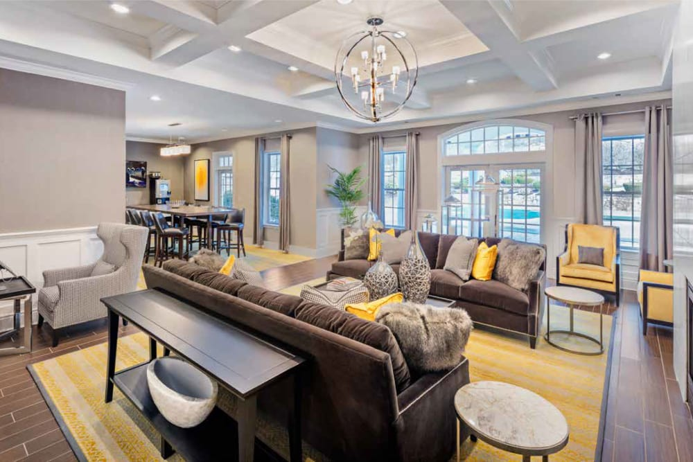 Nicely decorated clubhouse interior in an apartment