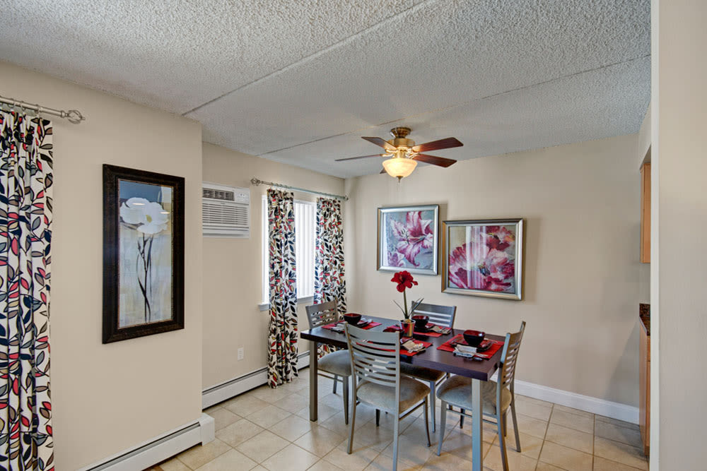 Dining area off of living room in an apartment at Frazer Crossing in Malvern, Pennsylvania