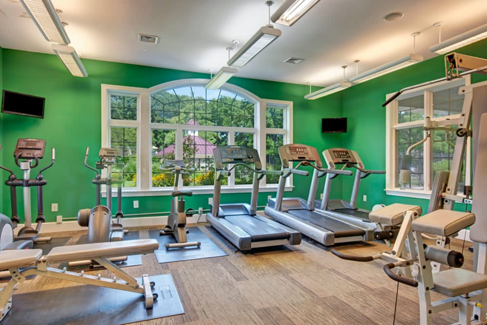 Exercise equipment such as treadmills in the fitness center at Frazer Crossing in Malvern, Pennsylvania