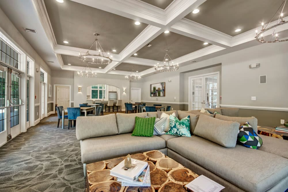 High ceilings and find furnishings are featured in this clubhouse at Frazer Crossing in Malvern, Pennsylvania