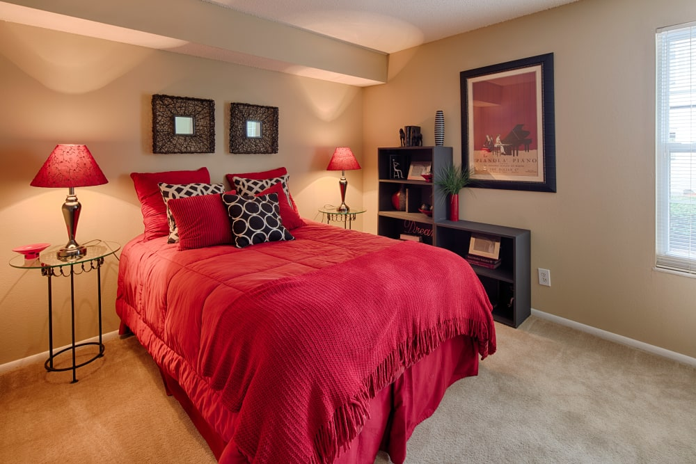 Well decorated model bedroom at Oxford Hills in St. Louis, Missouri