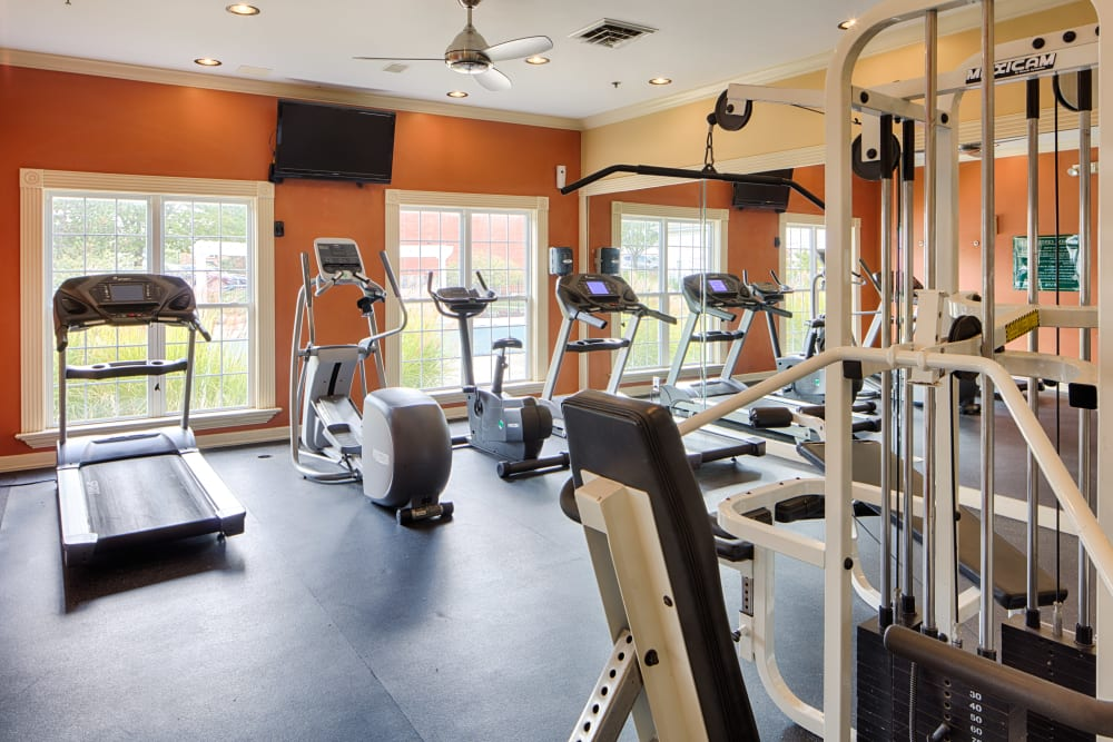 Well equipped fitness center at Oxford Hills in St. Louis, Missouri