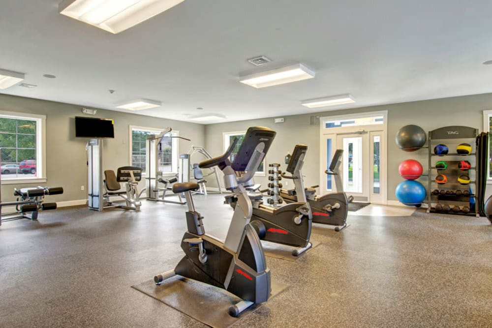 Exercise bike and other fitness equipment in species fitness center at Gardencrest in Waltham, Massachusetts