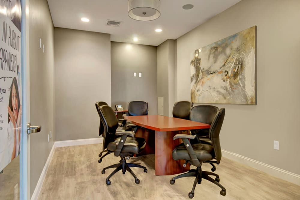 Conference room in the the club at Gardencrest in Waltham, Massachusetts