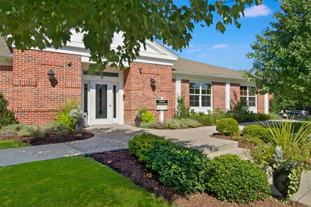 Leasing office entrance at Gardencrest in Waltham, Massachusetts