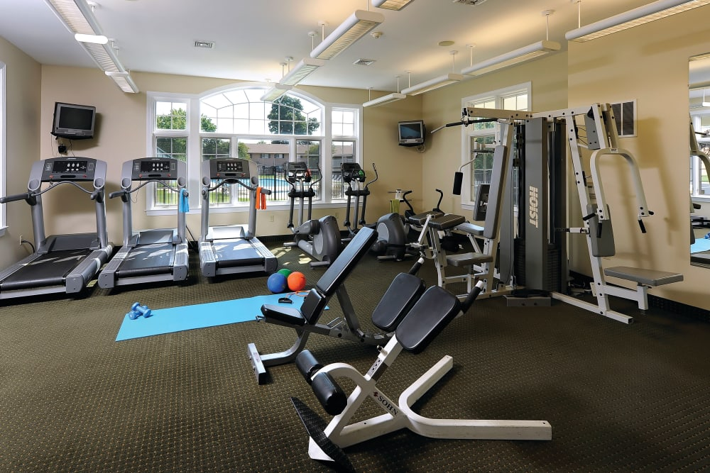 State of the art exercise equipment in the fitness center at Golf Club Apartments in West Chester, Pennsylvania
