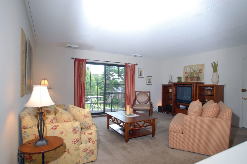 Living room in an apartment at The Heights At Marlborough in Marlborough, Massachusetts
