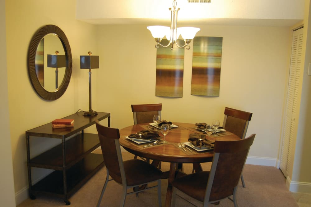Dining room table in an apartment at The Heights At Marlborough in Marlborough, Massachusetts