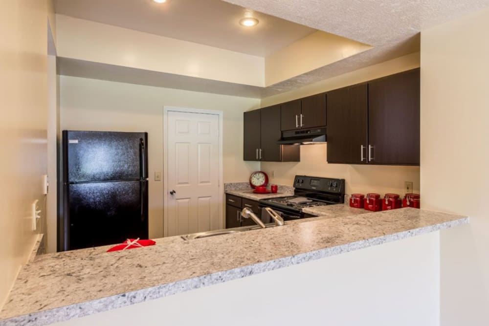View of kitchen countertop bar at Heritage Green in Hilliard, Ohio