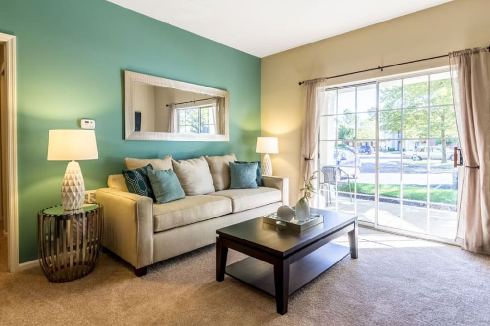 Well decorated living room at Heritage Green in Hilliard, Ohio