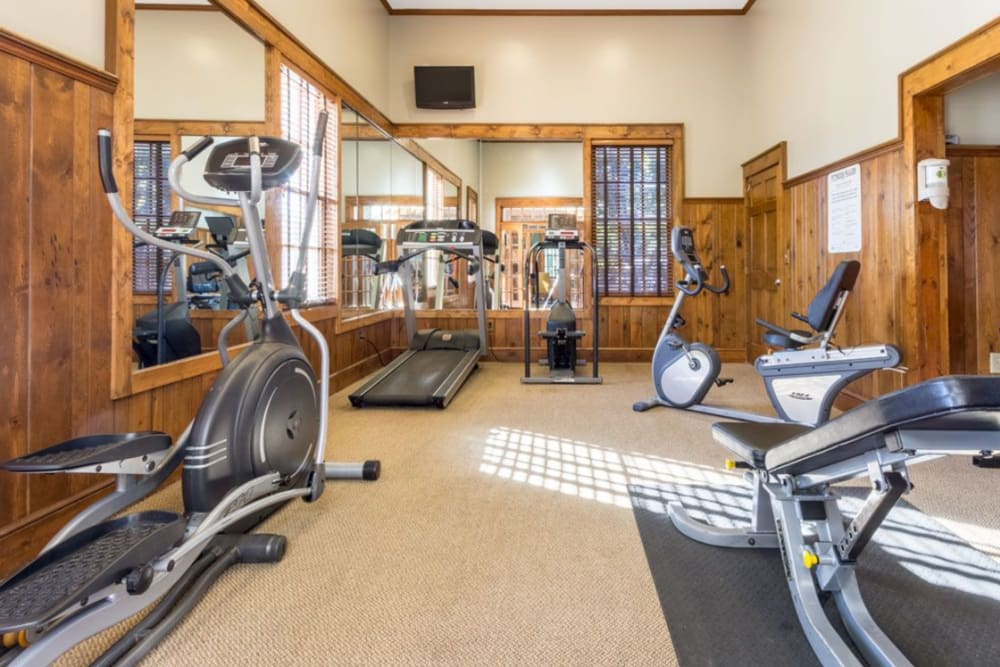 Exercise equipment in the fitness center at Heritage Green in Hilliard, Ohio