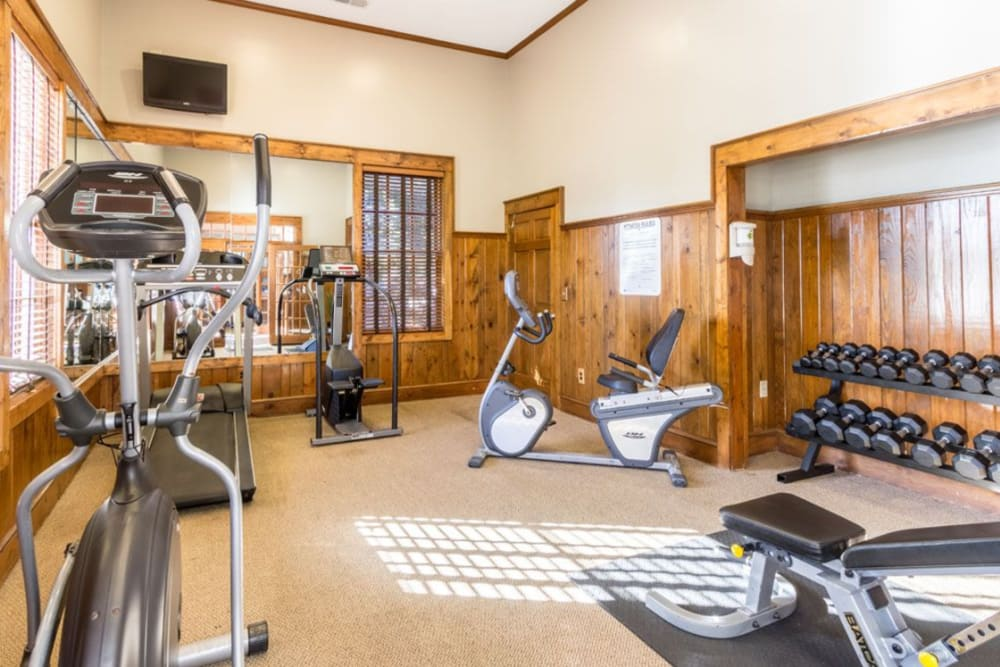 Free weights and other exercise equipment in the fitness center at Heritage Green in Hilliard, Ohio