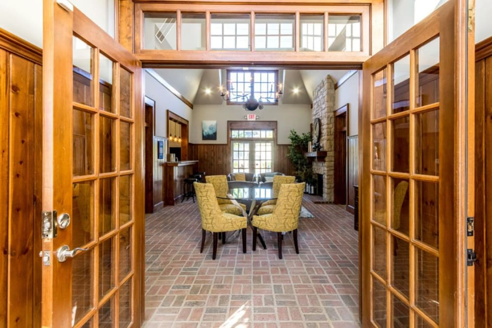 French doors leading into clubhouse at Heritage Green in Hilliard, Ohio