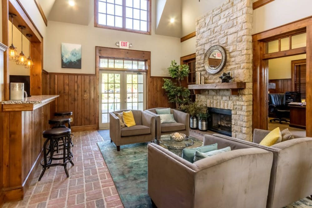 Vaulted ceilings and community fireplace sitting area are features of the clubhouse at Heritage Green in Hilliard, Ohio