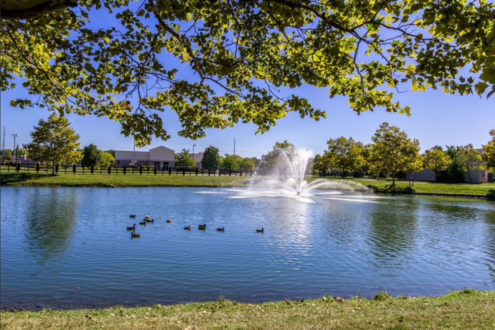 Large pond with the fountain and mature trees at Heritage Green in Hilliard, Ohio