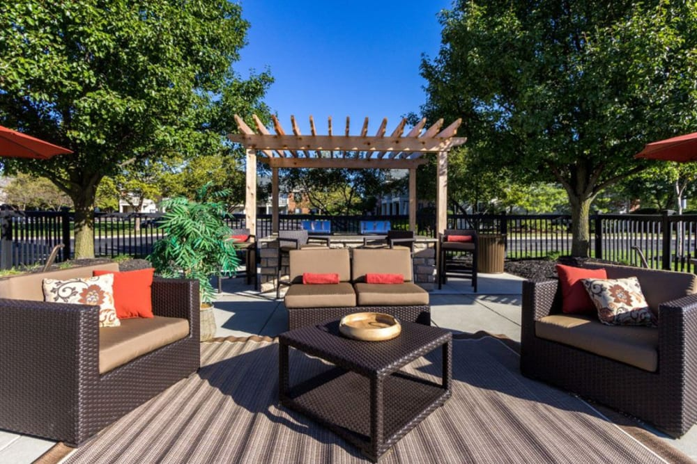 Sitting area by barbecue station at Heritage Green in Hilliard, Ohio