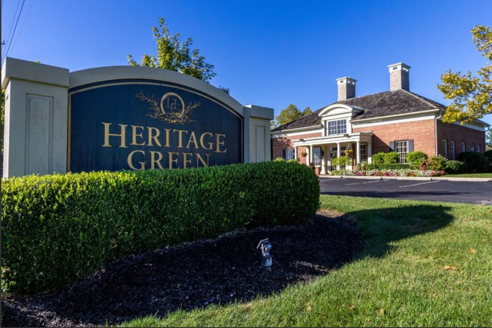 Community sign at Heritage Green in Hilliard, Ohio
