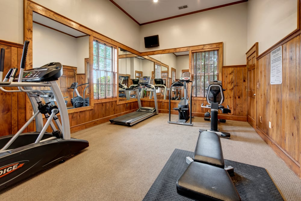 Variety of modern fitness equipment at Heritage Green in Hilliard, Ohio
