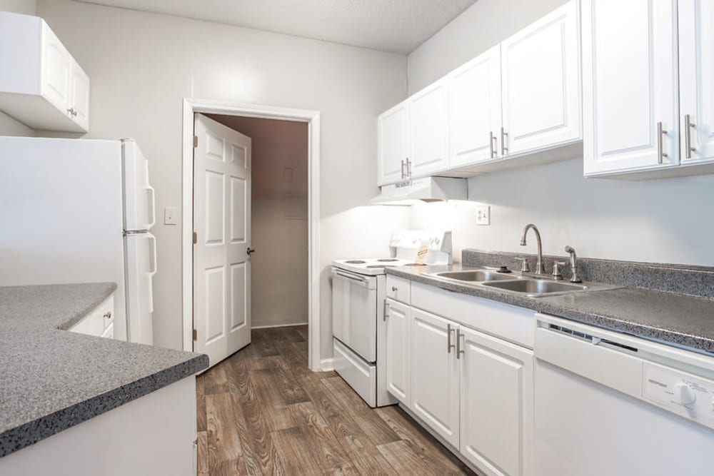 White and bright kitchen at Hidden Creek in Morrow, Georgia