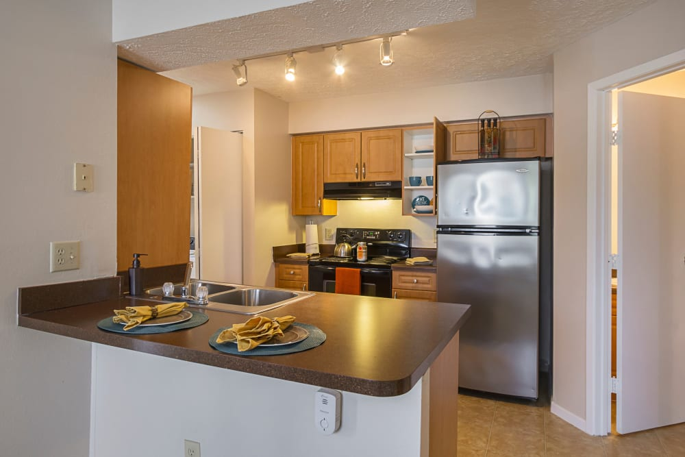 View of kitchen featuring ample countertop space at Hickory Creek in Columbus, Ohio