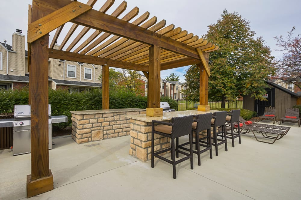 Grilling station with shade gazebo at Hickory Creek in Columbus, Ohio