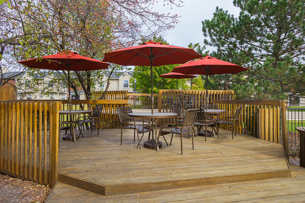 Patio tables and umbrellas at Hickory Creek in Columbus, Ohio