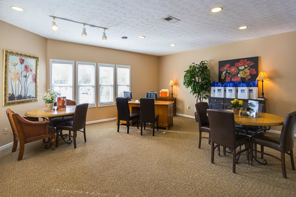 Leasing office interior at Hickory Creek in Columbus, Ohio