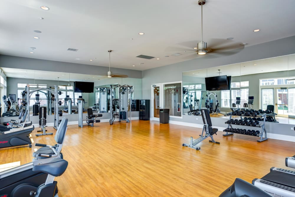 Well equipped fitness center at Northgate Crossing in Wheeling, Illinois