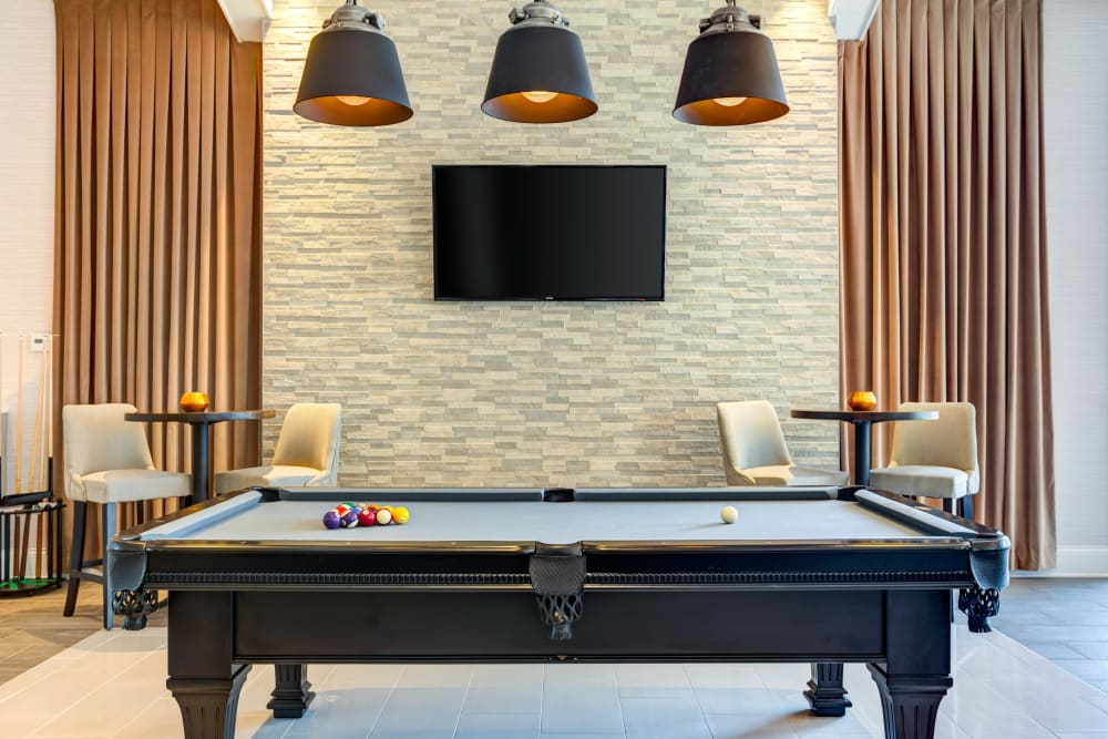 Pool table for residents at Northgate Crossing in Wheeling, Illinois