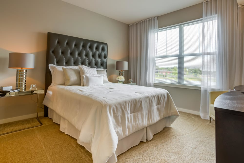 Main bedroom with a view at Northgate Crossing in Wheeling, Illinois