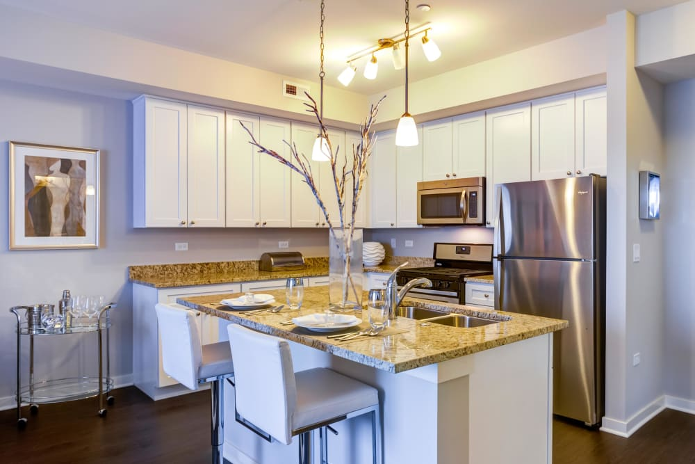 Spacious kitchen with stainless steel appliances at Northgate Crossing in Wheeling, Illinois
