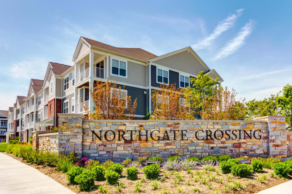 Exterior entrance sign of Northgate Crossing in Wheeling, Illinois