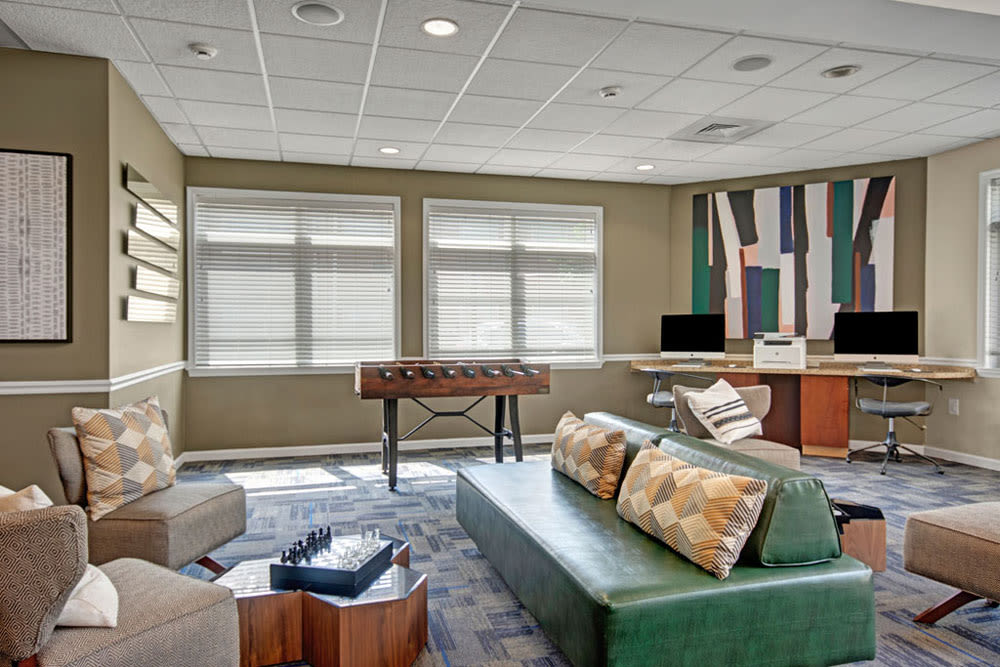 Clubhouse interior with amenities at New Orleans Park Apartments in Secane, Pennsylvania
