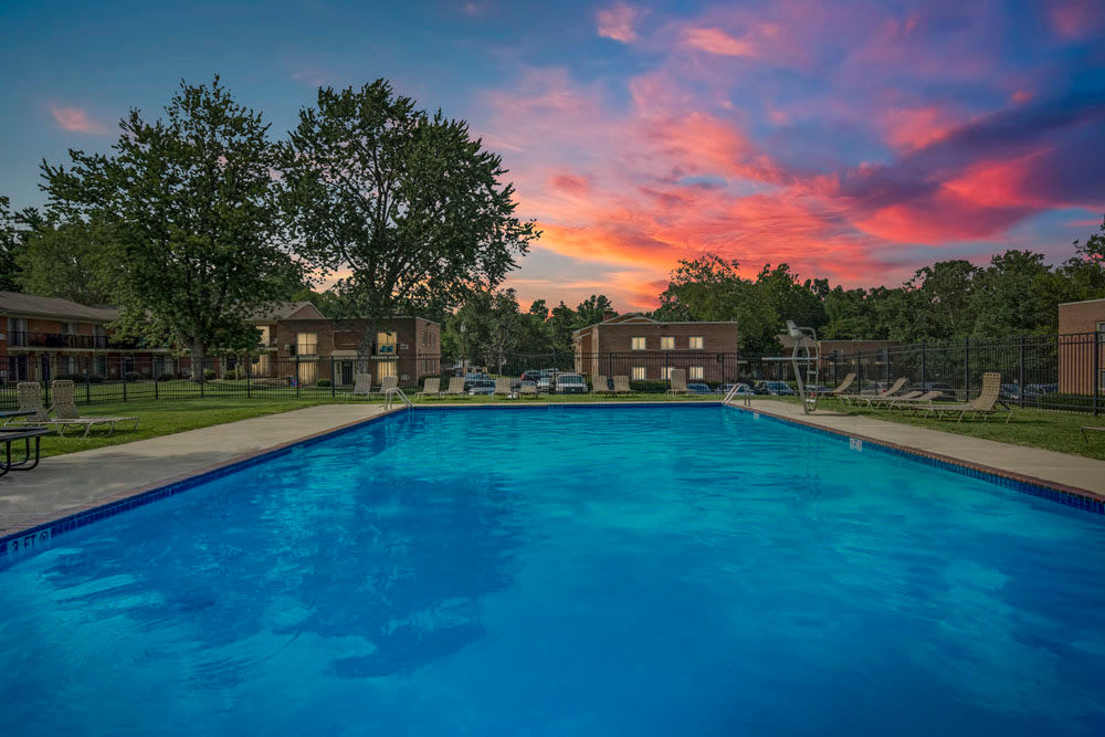 Sunset view from pool at New Orleans Park Apartments in Secane, Pennsylvania