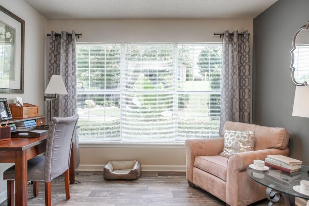 Living room with plenty of natural light at Monterey Village in Jonesboro, Georgia