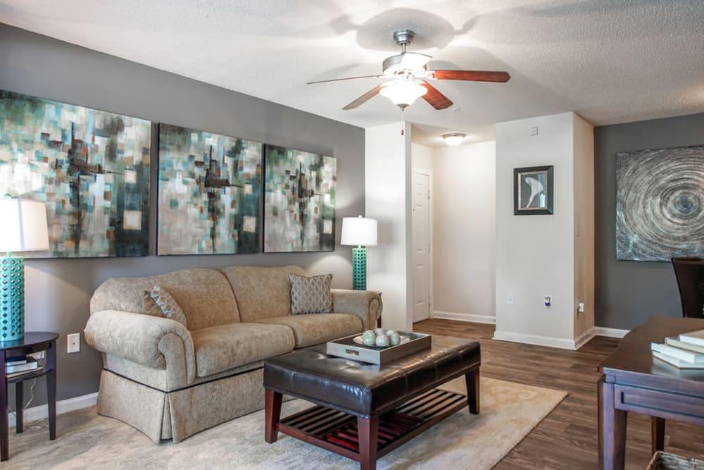 Living room with modern decor at Monterey Village in Jonesboro, Georgia