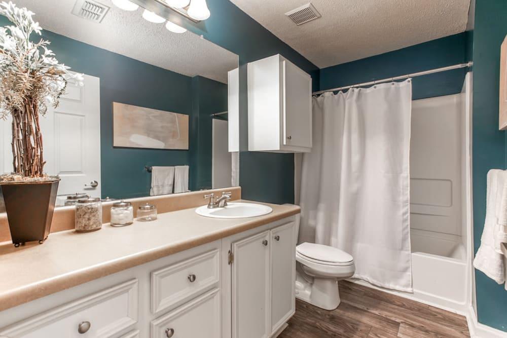 Model bathroom with large vanity mirror and oval tub at Monterey Village in Jonesboro, Georgia