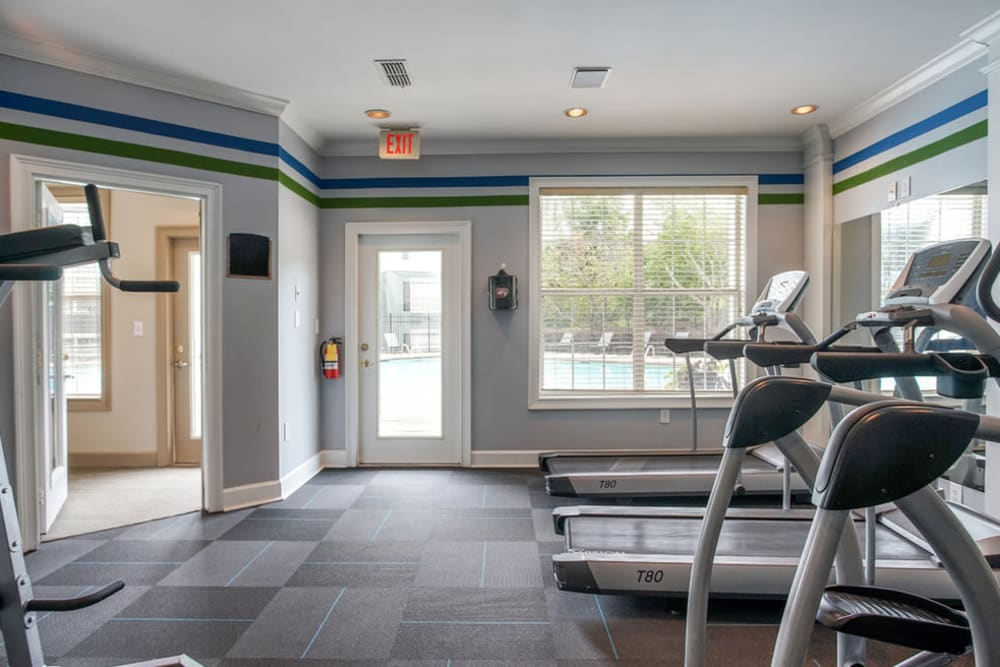 Well equipped fitness center at Monterey Village in Jonesboro, Georgia