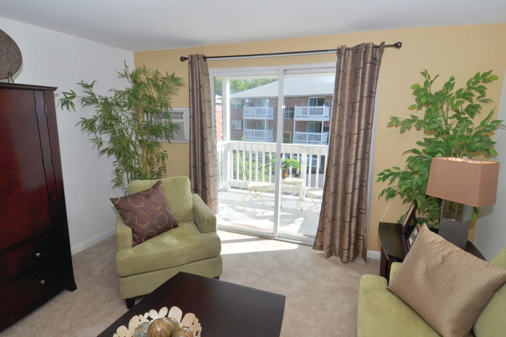 Carpeted living room with great natural light at Middlesex Crossing in Billerica, Massachusetts