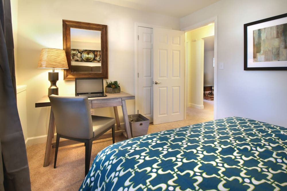 Model bedroom with office nook at Middlesex Crossing in Billerica, Massachusetts