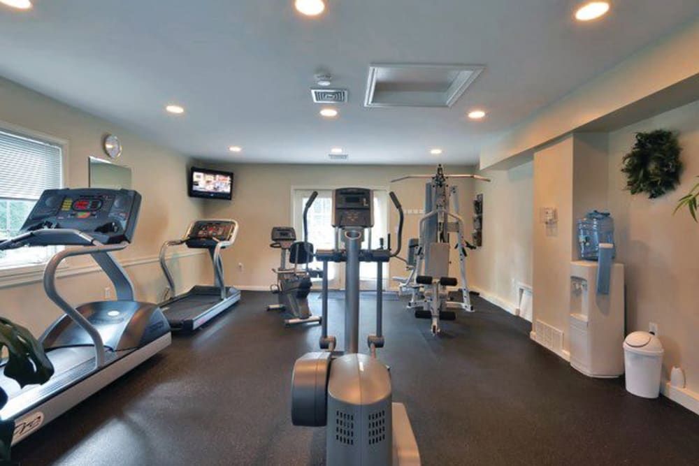 Well equipped fitness center at Middlesex Crossing in Billerica, Massachusetts