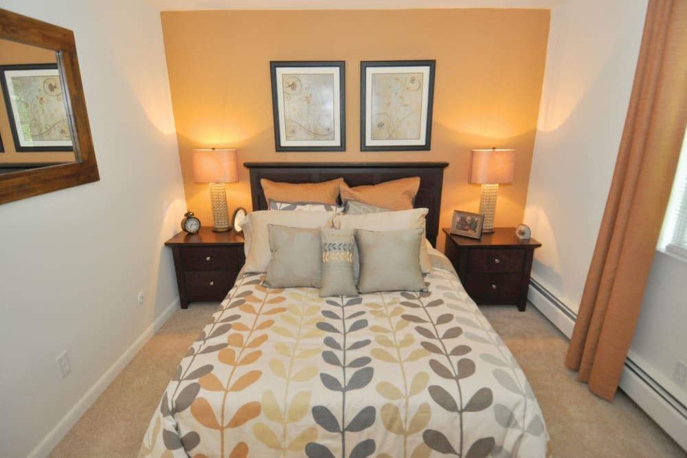 Model bedroom at Middlesex Crossing in Billerica, Massachusetts